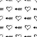 Seamless vector pattern. Simple black and white background with hand drawn hearts and arrows stock illustration