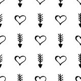 Seamless vector pattern. Simple black and white background with hand drawn hearts and arrows Stock Photography