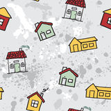 Seamless vector pattern. Sketch vector set of houses in doodle Stock Photos