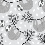 Seamless vector pattern with sleepy sloths hanging on leafy branches stock illustration