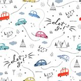 Seamless pattern with small cars and road signs on white background. Seamless vector pattern with small hand-drawn cars and road signs on white background royalty free illustration