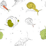 Seamless vector pattern snails and shells. Texture with snails on white background Royalty Free Stock Images