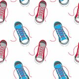 Seamless vector pattern with sneakers Stock Photo