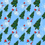 Seamless vector pattern with snowmen and Christmas trees Royalty Free Stock Image