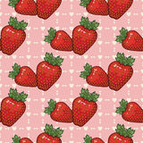 Seamless vector pattern with strawberries and hearts. Vector background Royalty Free Stock Photo