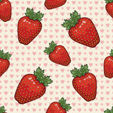 Seamless vector pattern with strawberries and hearts. Vector background Stock Image