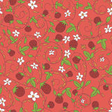Seamless vector pattern with strawberry, berry. Seamless pattern with berries and strawberries. Strawberry, berry, vector endless texture Royalty Free Stock Photo