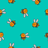Seamless vector pattern of striped bee Stock Image