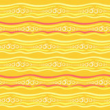 A seamless vector pattern with stripes, circles, and stylized oranges. A seamless pattern with waves on orange background, circles, and stylized oranges Royalty Free Stock Image