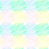 Seamless vector pattern with stroked squared patches. Vector hand drawn texture. Crayon background. Stock Image