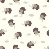 Seamless vector pattern with stylized cute elephants. Stock Photo
