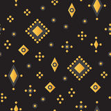 Seamless Vector Pattern with Stylized Flat Beads on Black Background Royalty Free Stock Photo