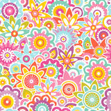 Seamless vector pattern with stylized flowers. Abstract floral background. Royalty Free Stock Image