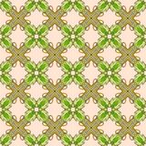 Seamless vector pattern with stylized flowers and green leaves. Royalty Free Stock Photos