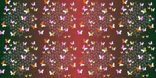 Seamless vector pattern with stylized flowers or snowflakes and butterflies Royalty Free Stock Photo