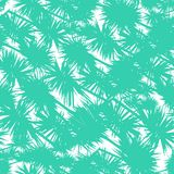Seamless vector pattern with stylized palm leaves. In bold shapes in tropical aqua blue color. Texture for web, print, wallpaper, home decor, summer fall Stock Image