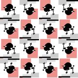 Seamless vector pattern of stylized Poodle on graphic background. vector illustration