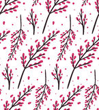 Seamless vector pattern with stylized sakura flowers Royalty Free Stock Photography