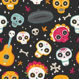 Seamless vector pattern with sugar skulls and flowers. Day of the Dead. Dia de los muertos. Seamless vector pattern with sugar skulls and flowers on dark Stock Photography