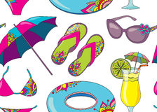 Seamless vector pattern with summer holidays seaside beach objec Stock Photography