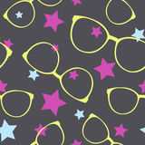 Seamless vector pattern with sunglasses and stars Stock Photos