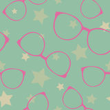 Seamless vector pattern with sunglasses and stars Royalty Free Stock Photo