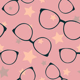 Seamless vector pattern with sunglasses and stars Royalty Free Stock Images