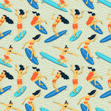 Seamless vector pattern with surfers. Summer  background. Royalty Free Stock Photography