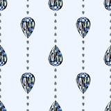 Seamless vector pattern, symmetrical background with bright gemstones in the shape of drops Stock Images