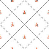 Seamless vector pattern, symmetrical background with cute ladubugs on the white backdrop. Stock Photo