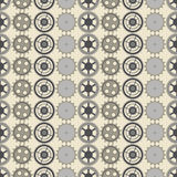 Seamless vector pattern, symmetrical background with elements of the watch on the beige backdrop Royalty Free Stock Images