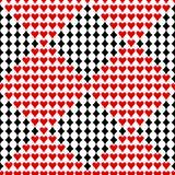 Seamless vector pattern. Symmetrical background with red and black icons of game cards, on the white backdrop Stock Photography