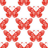 Seamless vector pattern. Symmetrical background with red ornamental decorative butterflies on the white backdrop. Royalty Free Stock Photo