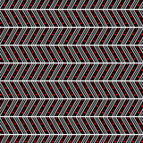 Seamless vector pattern. Symmetrical geometric abstract background with lines and dots in the shape of zigzag in black and red Royalty Free Stock Images