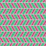 Seamless vector pattern. Symmetrical geometric abstract background with lines and dots in the shape of zigzag in pink and green. Decorative repeating ornament Stock Image