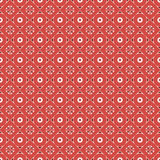Seamless vector pattern. Symmetrical geometric abstract background with rhombus and circles in red colors Stock Photos