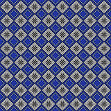Seamless vector pattern. Symmetrical geometric abstract background with squares in blue, black and white colors. Royalty Free Stock Images