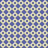 Seamless vector pattern. Symmetrical geometric abstract background with squares in blue and yellow colors. Decorative repeating or Stock Photos