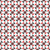 Seamless vector pattern. Symmetrical geometric abstract background with squares, rectangles and lines in black, white, red colors Stock Image