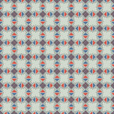 Seamless vector pattern. Symmetrical geometric abstract background with squares, rectangles and lines in blue and red colors. Stock Photography