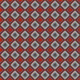 Seamless vector pattern. Symmetrical geometric abstract background with squares in red, black and white colors. Stock Photography