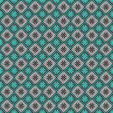 Seamless vector pattern. Symmetrical geometric abstract background with squares in turquoise, black and white colors Stock Photo