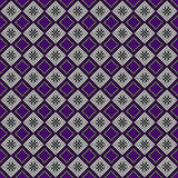 Seamless vector pattern. Symmetrical geometric abstract background with squares in violet, black and white colors Stock Photography