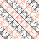 Seamless vector pattern. Symmetrical geometric background with black and red squares on the white backdrop.  Stock Photography