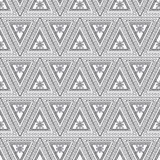 Seamless vector pattern. Symmetrical geometric background with black triangles on the white backdrop. Decorative ornament Royalty Free Stock Photos