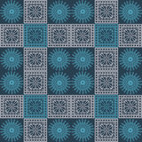Seamless vector pattern. Symmetrical geometric background with blue and light pink squares and circles on dark blue backdrop. Deco Stock Image