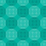 Seamless vector pattern. Symmetrical geometric background with blue polygons. Decorative repeating ornament.  stock illustration