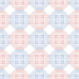 Seamless vector pattern. Symmetrical geometric background with blue and red polygons. Decorative repeating ornament.  royalty free illustration