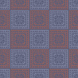 Seamless vector pattern. Symmetrical geometric background with blue and red squares and circles on the dark backdrop. Decorative o. Rnament stock illustration