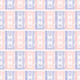 Seamless vector pattern. Symmetrical geometric background with blue and red squares on the white backdrop. Decorative ornament. Stock Images